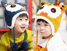 Fancy New 3D Cartoon Cat Children's Winter Acrylic Knit Pom Pom Earflap Hat