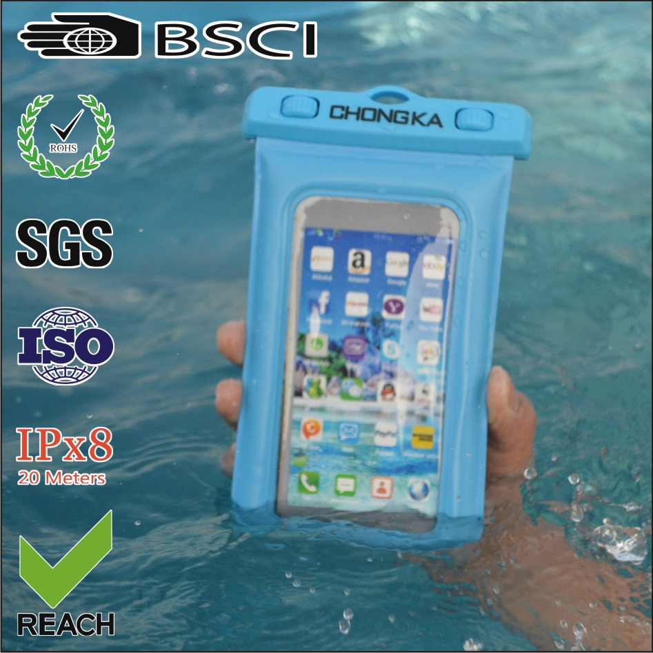 2016 New PVC Plastic Waterproof Mobile Phone Bags With Strap