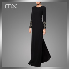 Hand Work Diamoned Stone Beading Dubai Style Islam Simple Design Long Black Maxi Abaya Supplier