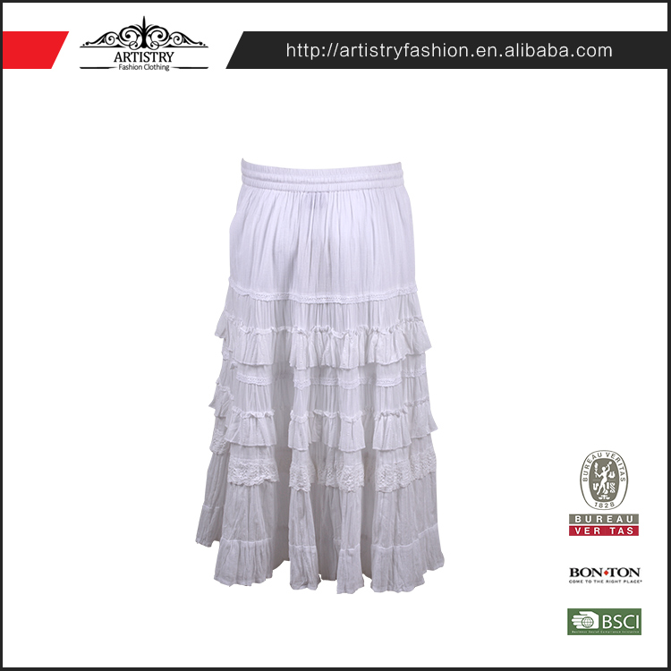 OEM accept knitted fit white color sexy girls seamless arabic long pleate skirt