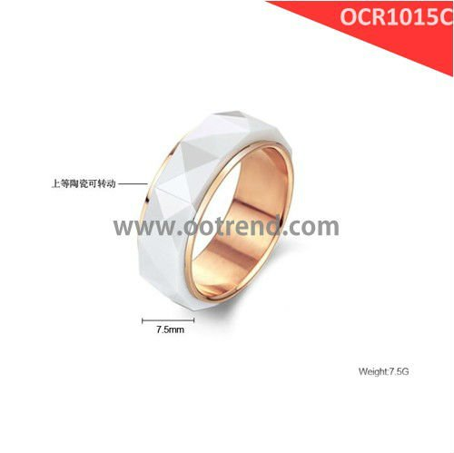 Hot sale faceted finish white rotate ring