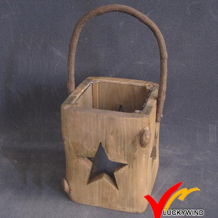 hand carved christmas home hanging wood lantern with star cut out