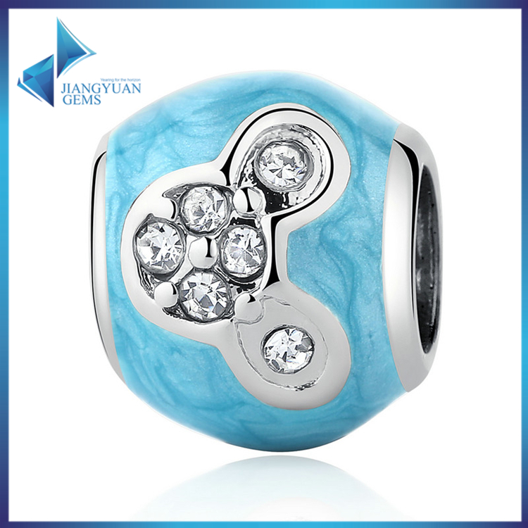 PA5326 Silver Plated Fashion DIY Beads & Jewelry Making Blue Cartoon Miki Bead <strong>Charms</strong>