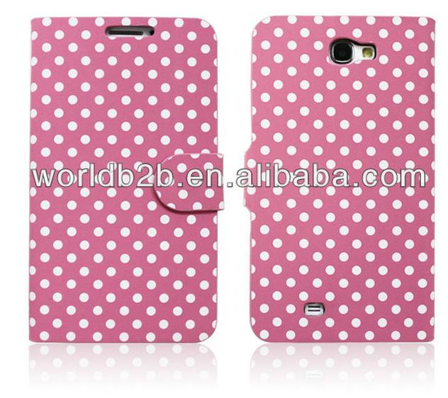 Dot Pattern Leather Case Cover with Credit Card Slots & Holder for Samsung Galaxy Note II / N7100