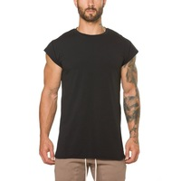 plain black t shirt 100% combed cotton gym wear men muscle wear hip hop clothing