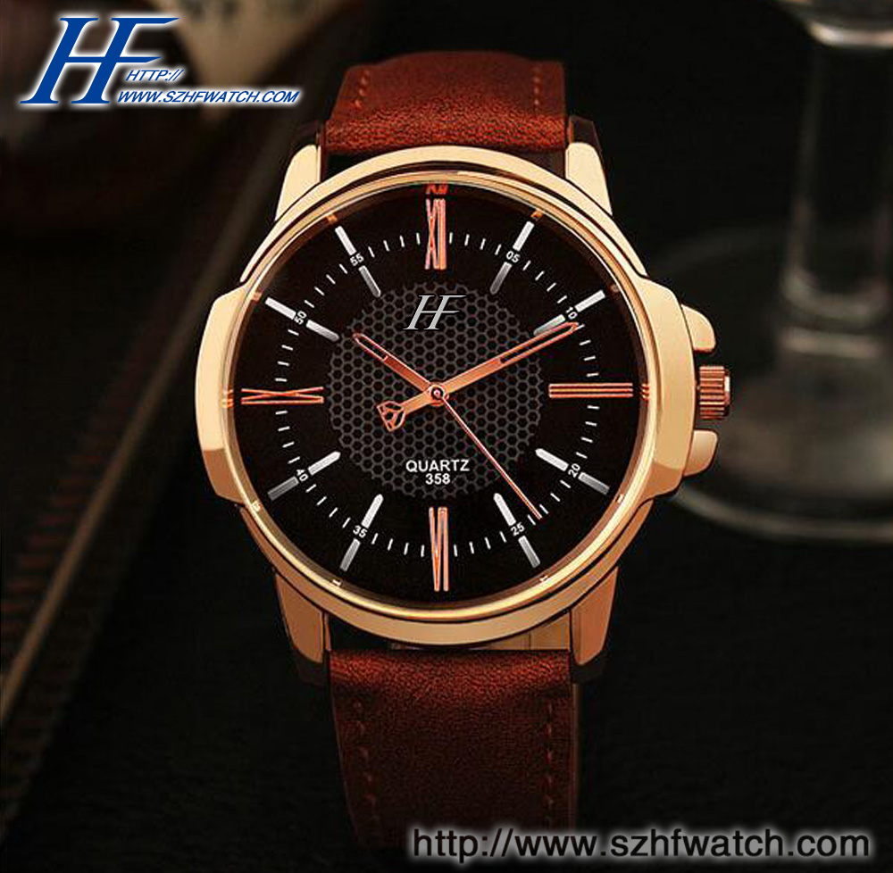 fashion great leather watch leather wrist quartz watch mens leather watch straps