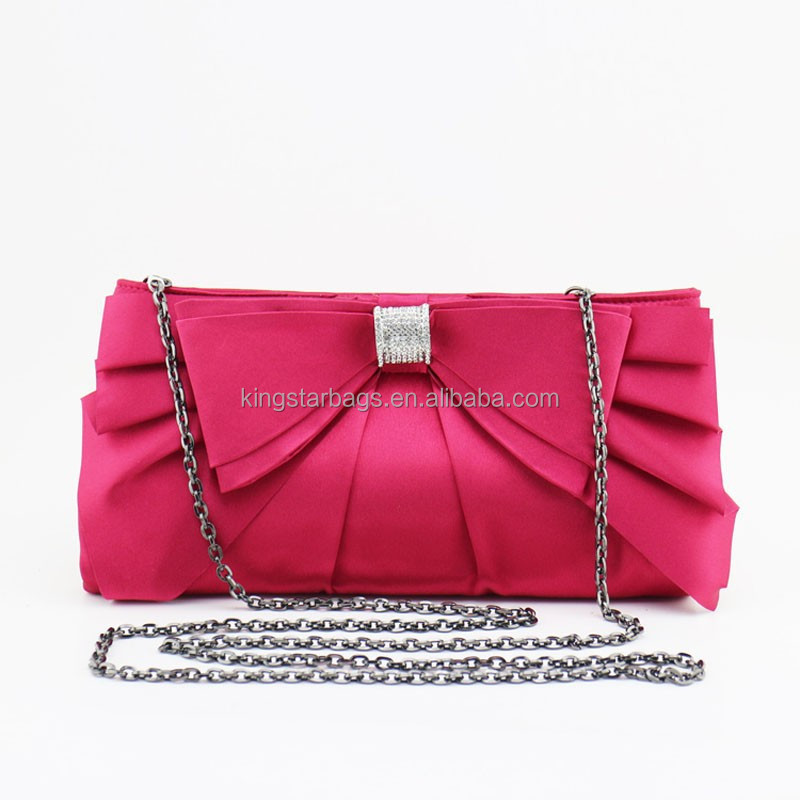 Fashion Bowknot Crystal Satin Fabric Designer Evening Bag