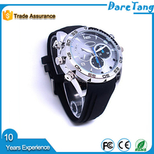 1080P HD High capacity polymer lithium battery 170 Degree wide angle lens ir smart spy watch camera