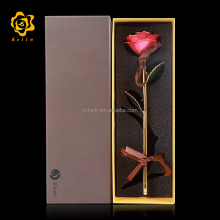 30cm Resin <strong>Crafts</strong> 24K Gold Foil Real Pink ose flower for Wedding Decorative flower