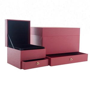 Red Drawer Boxes, Jewelry Necklace Packing Box with Velvet Lining