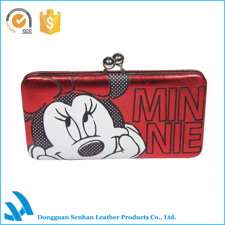 New Trendy PU Leather Hand Purse with iron clamp