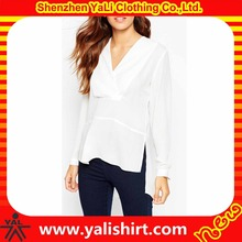 Wholesale top quality white cotton short front long back v-neck long sleeve back splits models chiffon blouses