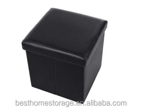 Cube Faux Leather Folding Storage Ottoman Black Foot Rest Stool Footrest