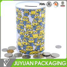 2016 new style cheap custom made round coin can tin piggy bank