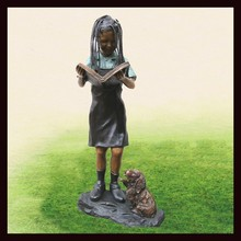 2015 metal outdoor sculptures of bronze African American Girl Reading Statues