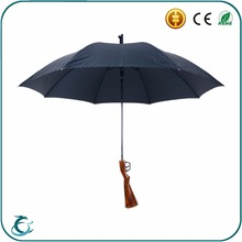 2016 hot sell rainproof fiberglass ribs gun straight handle umbrella