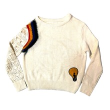 Polyester Leather Yarn Womens Sweaters Fashionable With Sticker