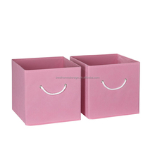 "Home decorative pink fabric 12x12"" storage book box with handle"