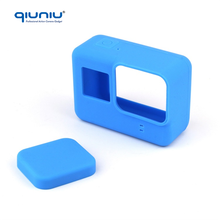 QIUNIU Blue Soft Silicone Protective Cover Skin Camera Case + Lens Cap Protector for GoPro Hero 5 Black Edition