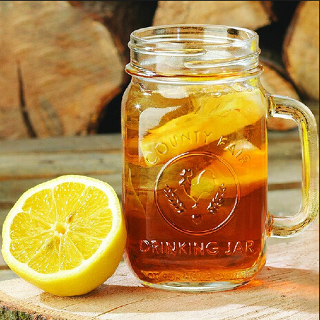 16oz glass material beer mug with handle with lid and straws wholesales