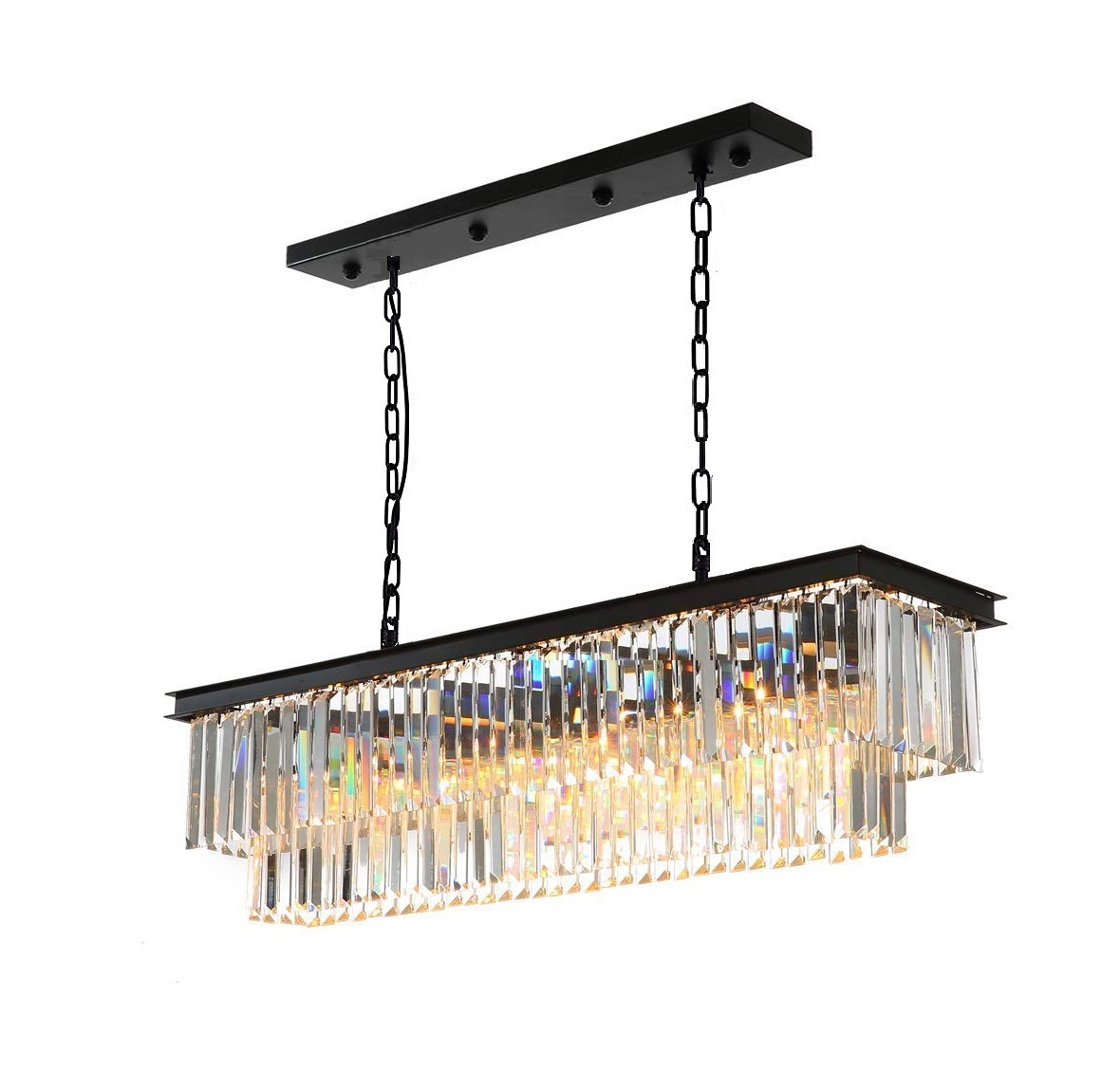 "Luxury Contemporary Rectangular Island Crystal Chandelier Lighting Fixture for Dining Room L23.5""xW11.8""xH11.8"""
