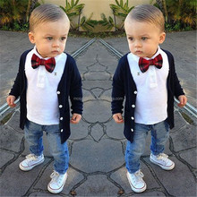 Fashion 2017 Autumn Kids Clothes Boys 3PCS Set Formal Gentleman Blouse+T-Shirt+Jeans+Bow Tie Suit Baby Boy Clothing Set SET441