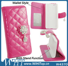 Luxury Flower Diamond Rhinestone Credit Card Slot Leather Wallet For iPhone 5C Case Leather Case