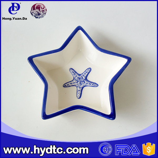 2016 New arrive ceramic five-pointed star shaped plates
