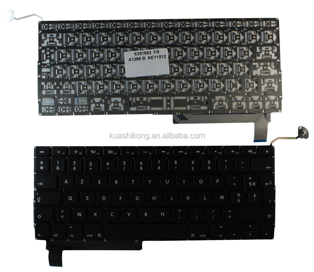 French 605-1689 laptop Keyboard for A1286 Late 2008 2009 MB470 MB471 661-4948, 661-4953, 922-8708, 922-8717