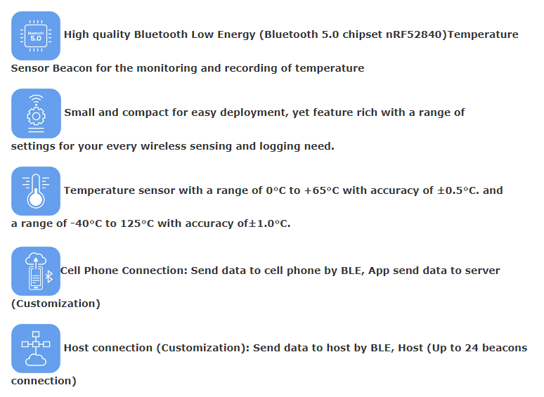 Low Energy version temperature monitoring system BTT01 iot Bluetooth 50 temperature sensor ble beacon for container