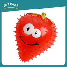 Hot selling pet dog chewing toy strawberry carrot soft squeaky TPR dog toy
