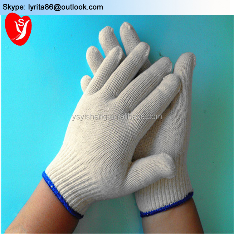 Cheap price 10 Gauge knitted white cotton work gloves industrial use safety gloves construction
