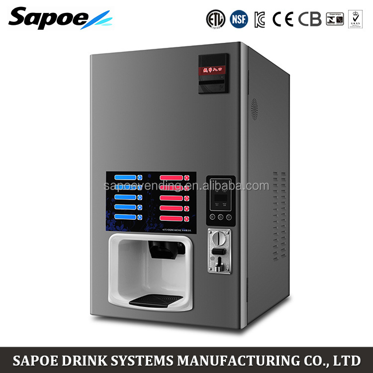Sapoe 5 hot and 5 cold automatic coin operated coffee vending machine for hotel