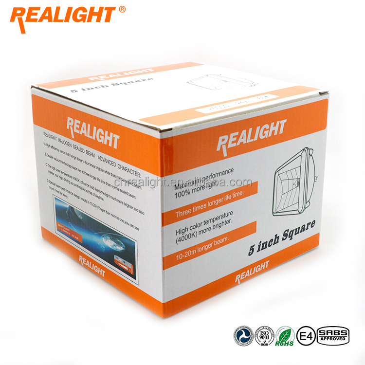 Super White High Quality REALIGHT Head Lamp 5 inch Square Auto Halogen Sealed Beam