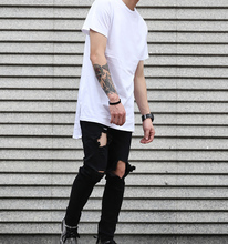 2017 New Fashion Men's Long line t shirt Blank Short Sleeve Summer Support Customized Logo and Color