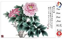 wall art decorative cheap handmade peony painting for hotel decoration