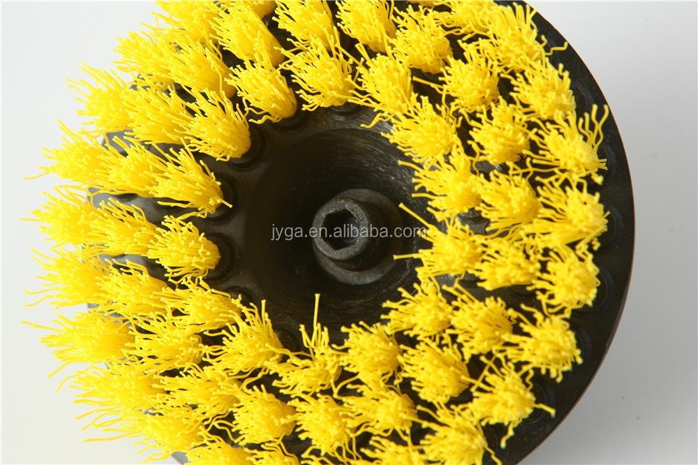 shave yellow color round wheel cleaning brush for drill
