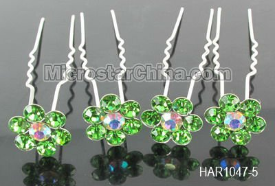 12 Colors popular green crystal rhinestone bridal hair pin