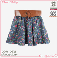 2016 Latest Design Floral Print Leather Waist Beautiful Girls In Short Skirts