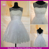 SW1167 Sheer Top Pearl Bodice Brazilian Wedding Dresses Sexy Short Wedding Dresses