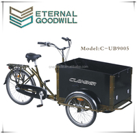 Fashionable cargo bike/cargo tricycle/reverse trike UB9005 three wheel folding bike with front wooden box for adult