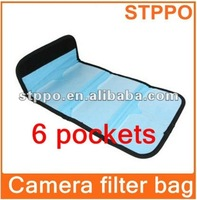Camera Lens Case Pouch Bag Wallet 6-Pockets Slots for Filter all UV CPL
