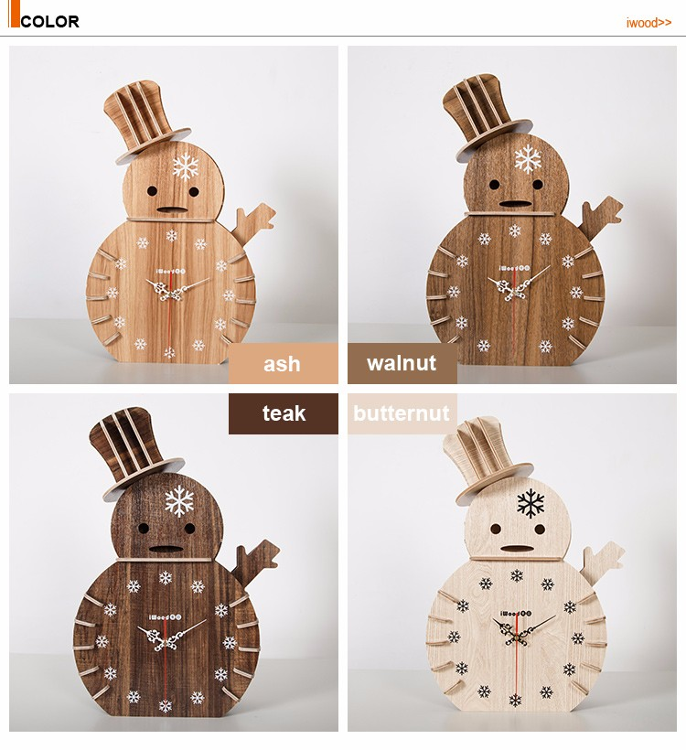 Decorative snowman desk wooden wall clock