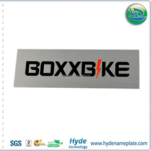 Make your own design self adhesive nameplate maker,oval relief logo brushed aluminium electric motor nameplate emblem