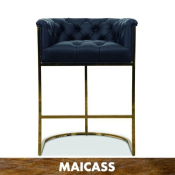 Luxurious Polished Brushed Brass Black Leather Bar&Counter Stool