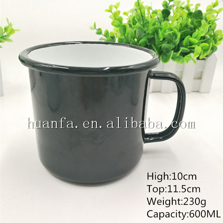 Export high quality big capacity 600ML camping enamel mug coffee cup with square handle