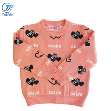 Woolen Baby Girls O-neck Sweater Computer Knitted Pattern Pullover Girls Sweater Long Sweater For Kids Wholesale