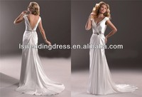 WD2389 Luxurious deep V back low back buttons stretch satin ruched small train full length long cheap deep V neck wedding dress