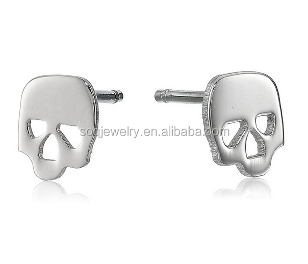 Fashion Designs Stainless Steel Clip On Skull Earrings for Men Punk Designs Jewelry