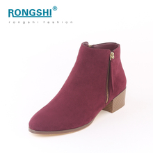 Perfect quality rubber outsole winter china shoes factory wholesale fashion office woman booties women chunky heel ankle boots